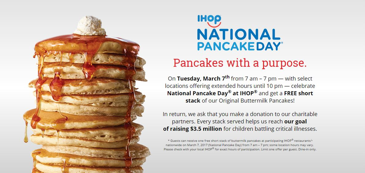 Free Pancakes at IHOP on National Pancake Day, March 7